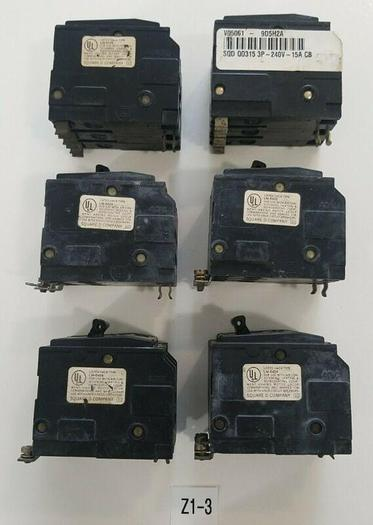 Used LOT OF 6 Square D Q0315 15A 3Pole 240V Circuit Breakers LM-6454 LM-6430 LM-6429