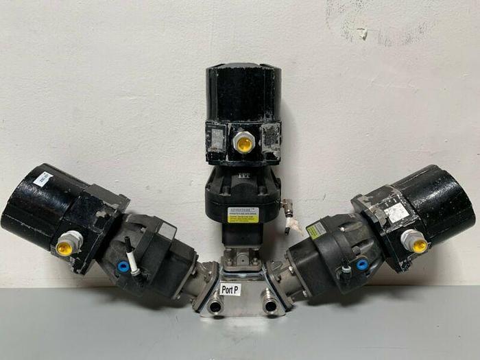 "Used 3 ITT Pure-Flo Sherotec Stainless Steel Valves w/ Position Monitor 3/4"" Sanitary"