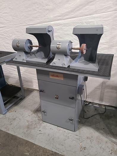 Refurbished Double Head Polishing Buffing Self Contained Machine with Dust Collector 110V 3450 RPM