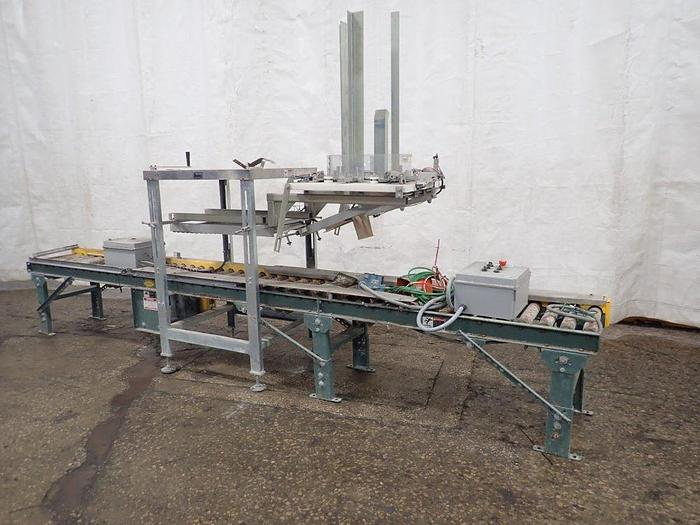 Used Ideal Pak 5 gal pail overlidder with compression unit and roller conveyor