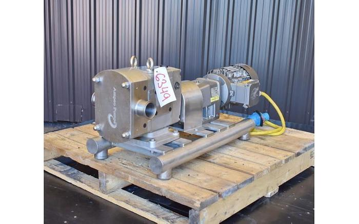 USED AMPCO ROTARY LOBE PUMP, MODEL AL22, 316L STAINLESS STEEL, SANITARY