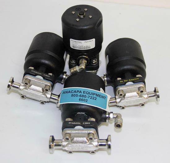 "Used ITT Industries AP0506 0.5"" Pure Flo Diaphragm Valve W/ Steel Body lot of 4 (6602"