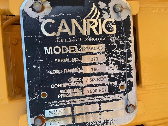 Canrig 1275AC-681 Topdrive with New service loop and VFD house.