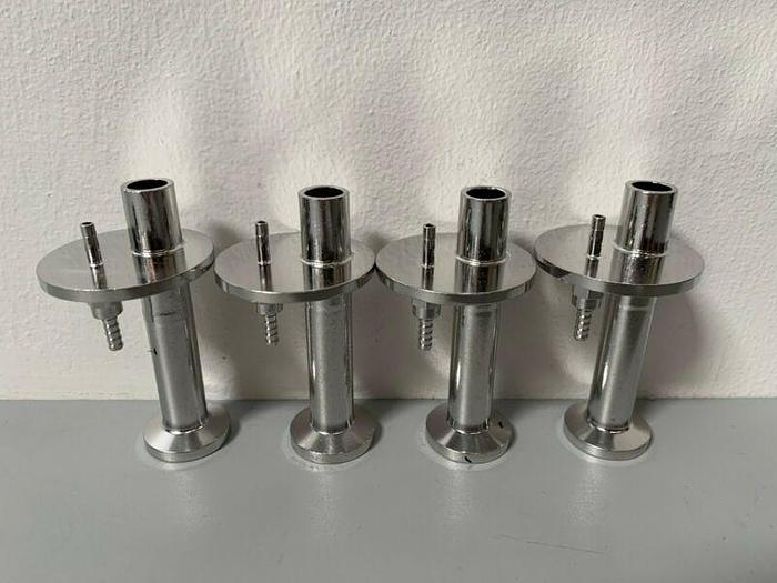 """Used Lot of 4 - Stainless Steel 3/32"""" Hose Fitting w/ 1/2"""" Sanitary Fitting"""