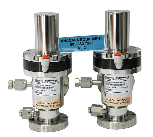 Used Nor-Cal Products CSVP-1502-CF-KT-F1 Pneumatic Right Angle Valve Lot of 2 (8112)W