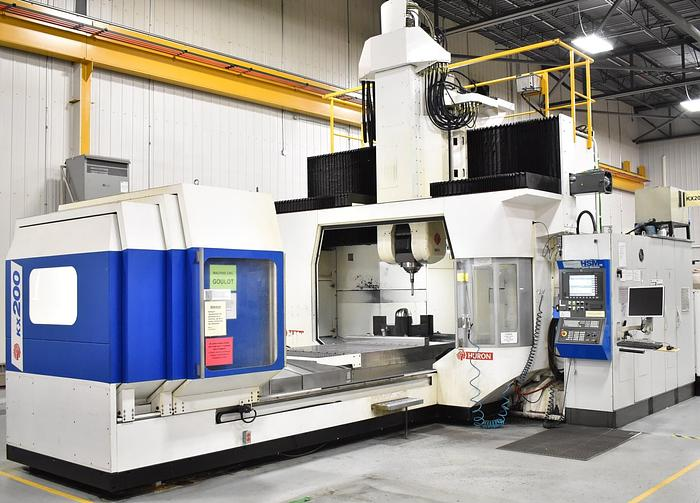 """Used 129.9""""X, 90.5""""Y, 39.37""""Z, HURON, 2007, KX200, 5-AXIS CNC GANTRY TYPE VERTICAL MACHINING CENTER"""