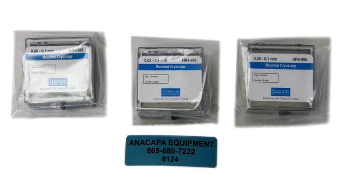 Hampton Research HR4-995 0.05 - 0.1 mm, Mounted CryoLoop New Lot of 3 (8124)W