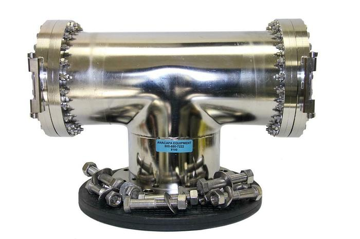 """Used Nor-Cal Products 3-Way Load Lock High Vacuum Chamber, 10"""" Flange Diameter(8100)W"""