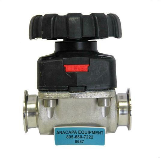 """Used Gemu 2-1/2"""" Tri-Clover Stainless Steel Manually Operated Diaphragm Valve (6687)W"""