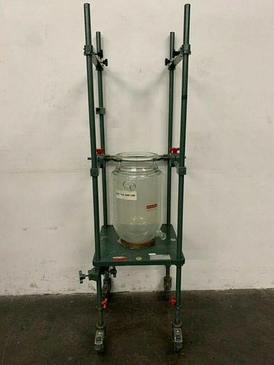 "Used Chemglass 15L Jacketed Glass w/ 9.5"" OD Sanitary Fitting on Rolling Stand"