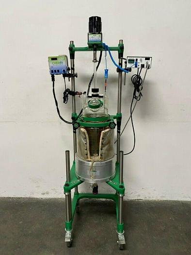 Used Chemglass 15 Liter Glass Reactor w/ Overhead Stirrer & Heating Pad & Mantle