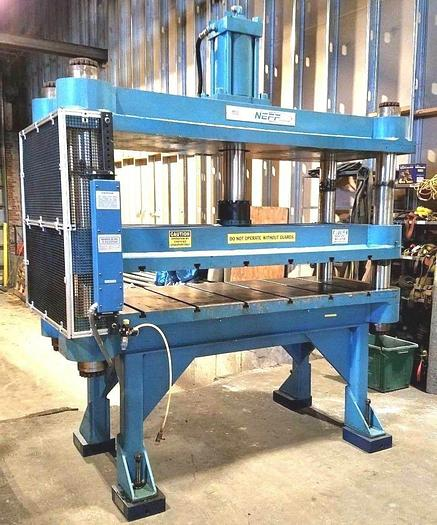 """Used NEFF 75 Ton High Speed Hydraulic Trim Press Large Parts Wide Table 10"""" Stroke"""