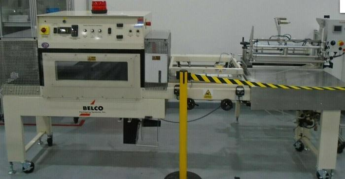 Used Belco STC2520C shrink packaging system with L-Sealer and Fan Shrink Tunnel
