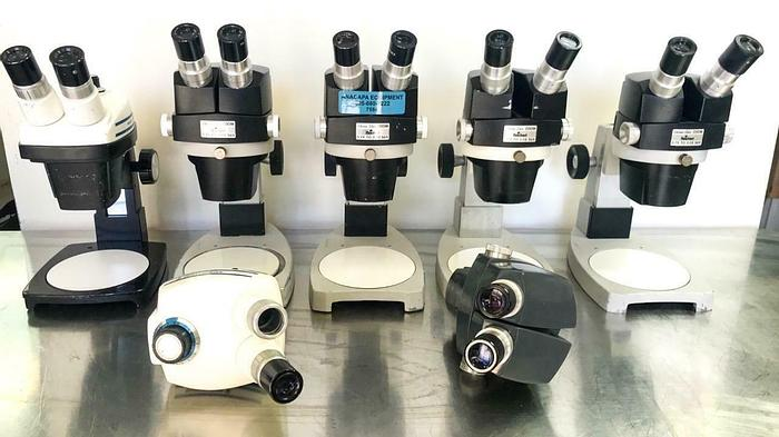 Used Reichert 569 Stereo Star ZOOM 0.7x - 3.0x Stereo Microscope Lot of 7 (7584) W