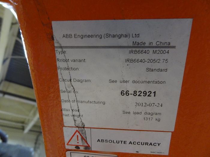ABB IRB 6640 6 AXIS CNC ROBOT 205KG X 2.75 REACH IRC5 CONTROLS