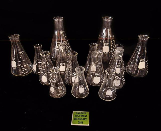 Used Pyrex Wide Mouth Graduated Flasks Lot of 14 (3568)