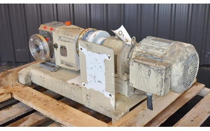 USED VIKING ROTARY LOBE PUMP, MODEL S2M, JACKETED, STAINLESS STEEL