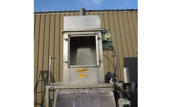 "USED SMICO RECTANGULAR SCREEN, 36"" X 48"", SINGLE DECK, STAINLESS STEEL, VIBRATORY BAG DUMP STATION"