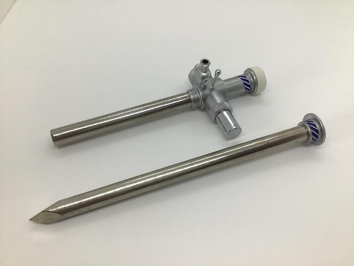Used Trocar and Sheath 10mm Diameter Trumpet Valve with one Luer Lock Stopcock 180mm (7in)