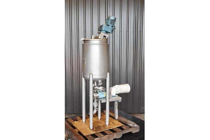 USED 20 GALLON JACKETED MIX TANK, STAINLESS STEEL WITH JACKETED WAUKESHA PUMP