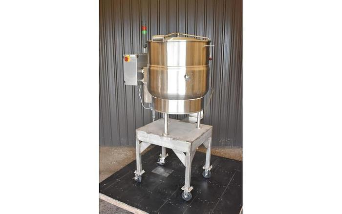 USED 60 GALLON JACKETED VULCAN KETTLE, STAINLESS STEEL, ELECTRIC, WITH CENTRIFUGAL PUMP