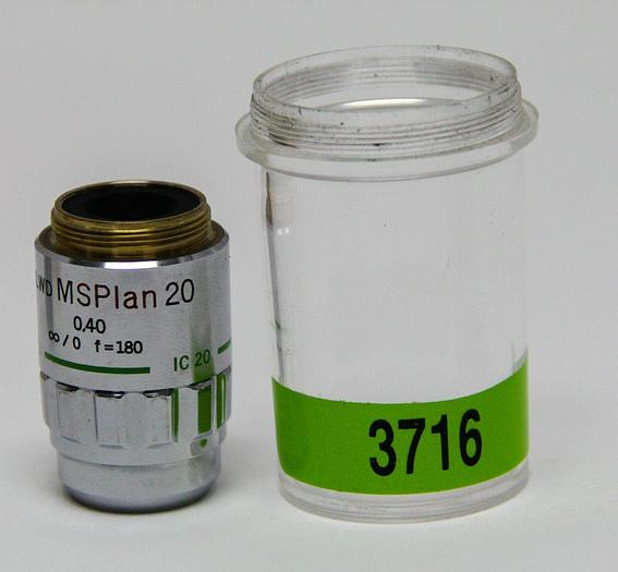 Used Olympus IC20 Microscope Objective ULWD MSPlan 20 0,40 F=180 (3716)