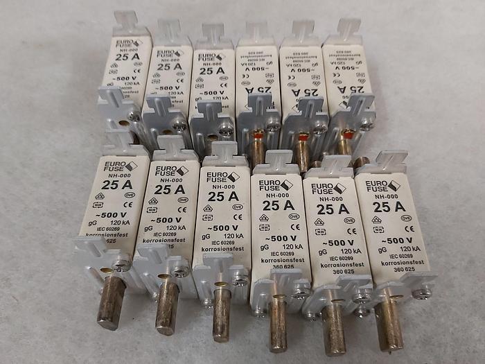 Gebraucht 12 Stück NH Sicherungseinsätze Größe 000, 25A, NH 000, 500V, Eurofuse,  gebraucht-Top