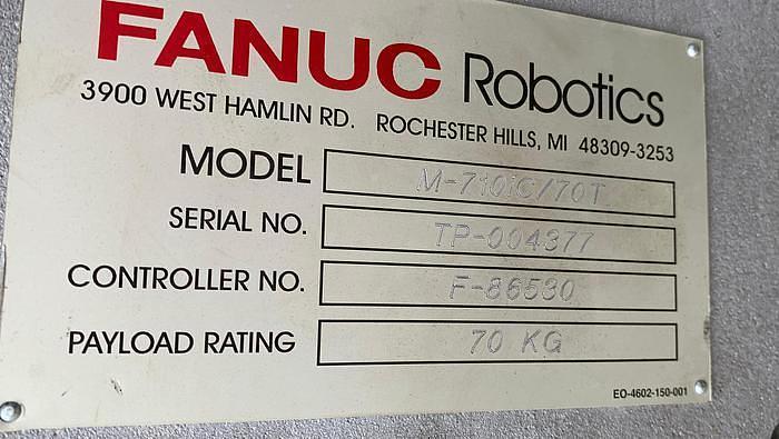 "2007 FANUC M710iC/70T GANTRY ROBOTIC SYSTEM, R30iA, 8' TALL RAIL X 11'6"" OF TRAVEL"