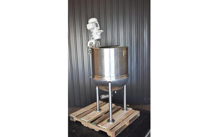 USED 60 GALLON JACKETED LEE KETTLE, STAINLESS STEEL, WITH CLAMP-ON MIXER