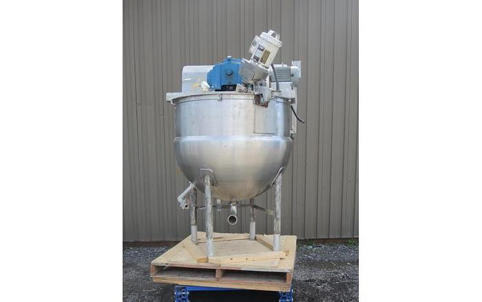 Used USED 125 GALLON JACKETED KETTLE, STAINLESS STEEL, WITH SCRAPE AGITATION