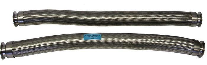 "Used KF50 Braided Flex Hose 34"" Long, 3"" Diameter, Corrugated SS Lot of 2 (8605)W"