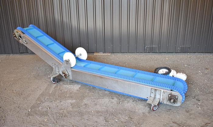 USED STAINLESS STEEL BELT CONVEYOR, 10'' WIDE X 112'' LONG