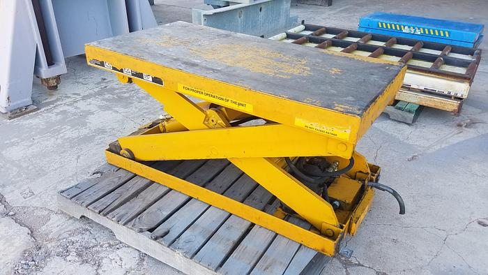 "Used 2,500 lb. Bishamon Hyd. Scissors Lift Tables; 24"" x 48"", 12 avail"