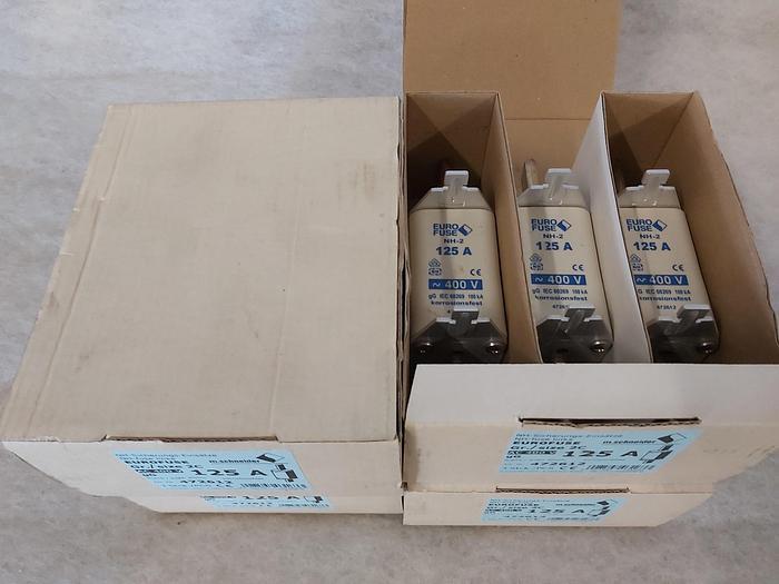 3 Stück NH Sicherungseinsätze Größe 2, 125A, NH-2, 400V, Eurofuse,  neuwertig