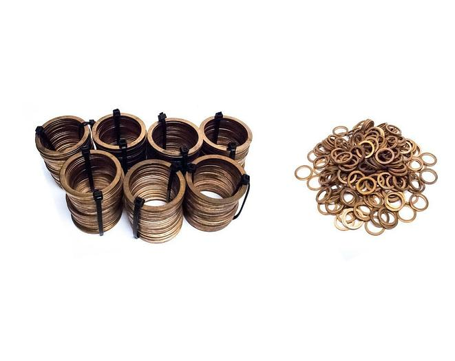"""Used Vacuum Copper Flange Gaskets Lot of 414 Includes 2-3/8"""" and 7/8"""" (5223)"""
