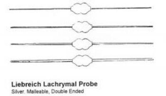 Ophthalmic Probe Lachrymal Liebreich Silver Double Ended Set of 4