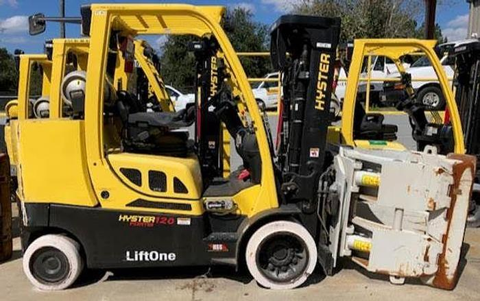 """Used 12,000 POUND ROLL CLAMP FORKLIFT TRUCK W/ 60"""" DIAMETER CASCADE ROLL CLAMP ONLY 116 HOURS"""