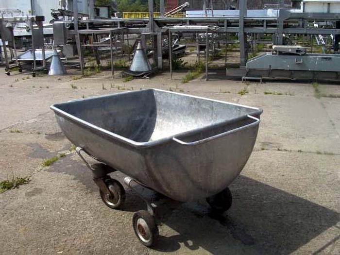 Używane Nierdzewna wózko-wanna na kółkach, półokrągła z 2 uchwytami