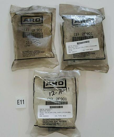 """*NEW OPEN BAG* LOT OF 3 ARO 2F901 1/8"""" Limit Valve 3 Way 2 Position + Warranty!"""