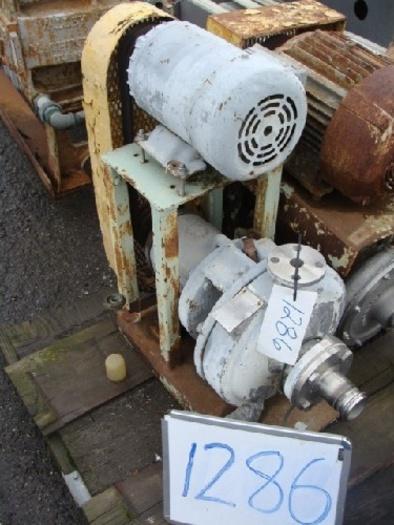 "Duriron 2 x 1"" Centrifugal Pump s/s pump head 3Hp - 1740 RPM - 230/460v belt drive motor mild steel base"" #1286"
