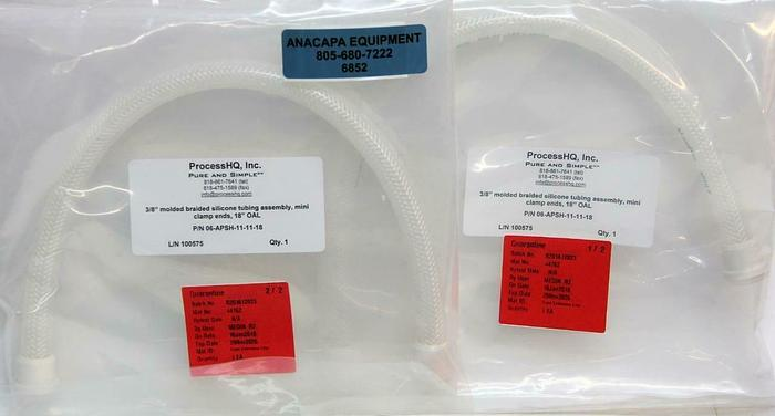 """ProcessHQ 3/8"""" Molded Braided Silicone Tubing 18"""" 06-APSH-11-11-18 Lot of 2(6852"""