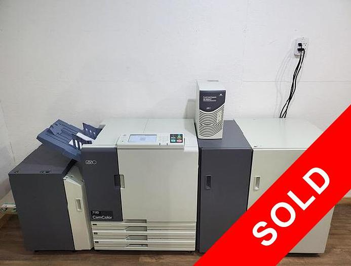 Used Riso ComColor 7150 X1 Full Color Printer with High Capacity Feeder/Stacker and IS950C RIP Print Controller. Only 840K Meter!