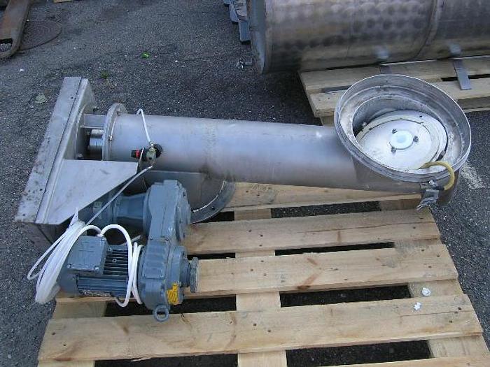 Used 45 ° powder conveyor, Stainless Steel, 1 meter, with SEW gear motor.