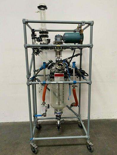 Used Sentinel Process System Skid w/ 20 L Jacketed Glass Reactor, Condenser & Mixer