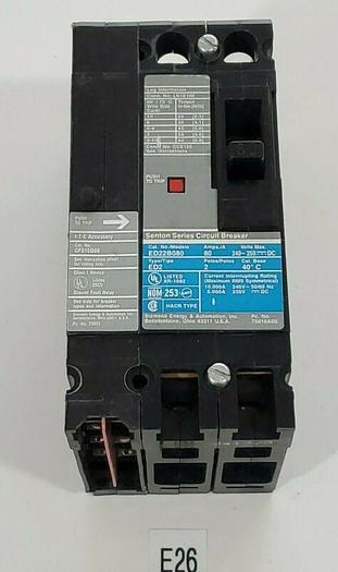 Used *PREOWNED* Siemens ED22BQ80 80A Circuit Breaker + GF01ED60 Fault + Warranty!