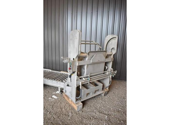 USED SANITARY PNEUMATIC DRUM DUMPER, ALL STAINLESS STEEL
