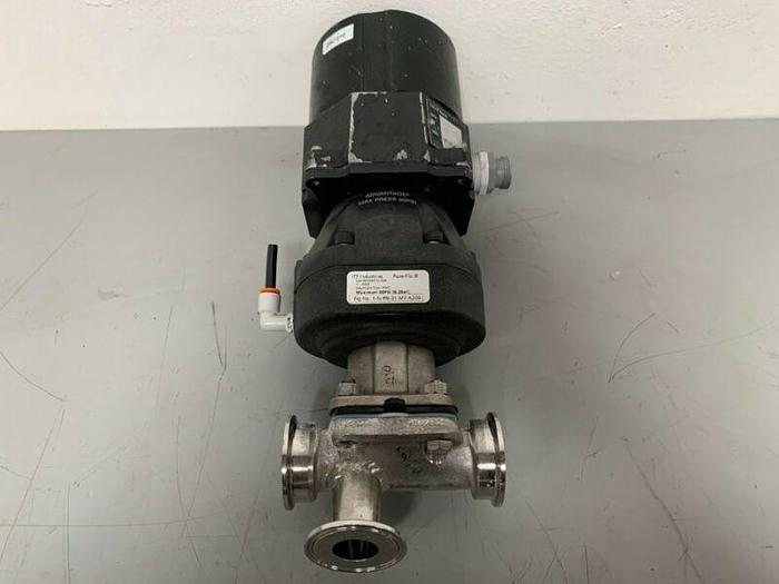"""Used ITT Pure-Flo A209 Stainless Steel 3-Way Diaphragm Valve w/ 2"""" Sanitary Fittings"""