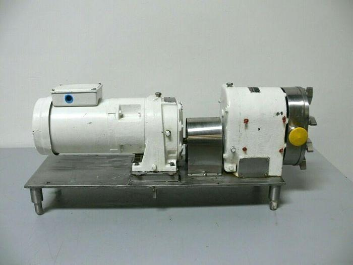 Used Tri-Clover PR25-1 M-TC1-4-SL-S Rotary Lobe Pump w/ Gear Reducer and 1HP Motor