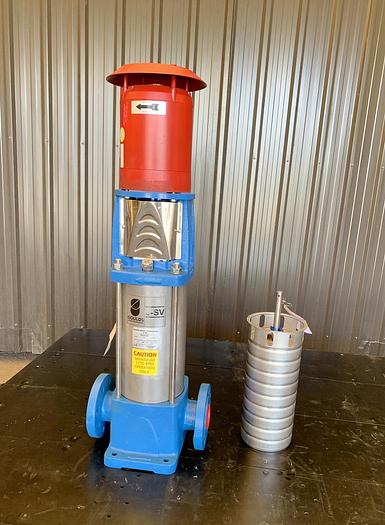 Used USED GOULDS CENTRIFUGAL INLINE PUMP, 2'' INLET & OUTLET, STAINLESS STEEL, UNUSED