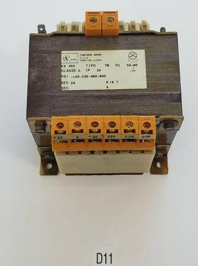 Used *PREOWNED* Conforme Norme Transformer 450VA CLASS E IP20 50/60HZ 20-230-460-600